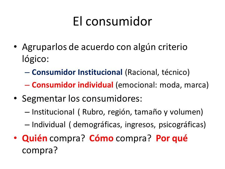 El consumidor Agruparlos de acuerdo con algún criterio lógico: – Consumidor Institucional (Racional, técnico) – Consumidor individual (emocional: moda