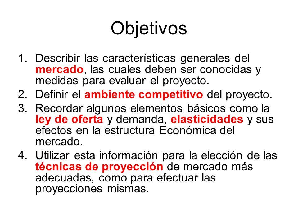 Objetivos 1.Describir las características generales del mercado, las cuales deben ser conocidas y medidas para evaluar el proyecto. 2.Definir el ambie