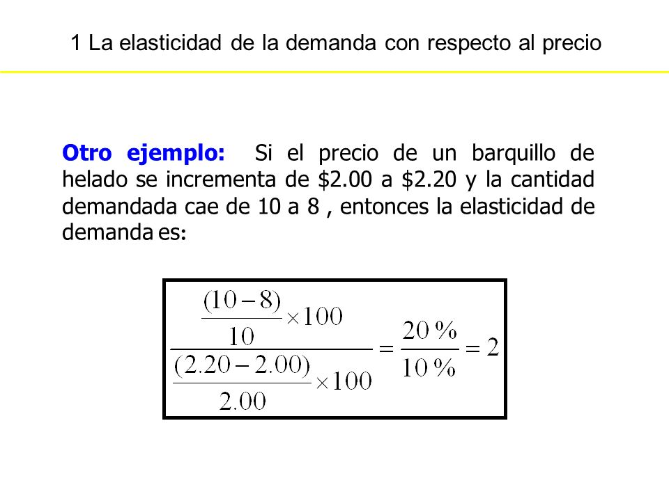 1 La elasticidad de la demanda con respecto al precio Otro ejemplo: Si el precio de un barquillo de helado se incrementa de $2.00 a $2.20 y la cantida