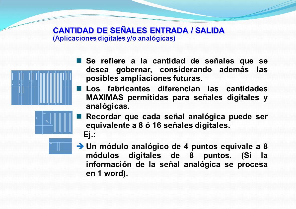 CANTIDAD DE SEÑALES ENTRADA / SALIDA (Aplicaciones digitales y/o analógicas) Se refiere a la cantidad de señales que se desea gobernar, considerando a