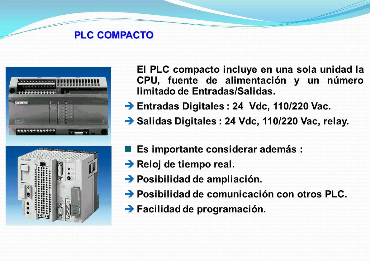 PLC COMPACTO El PLC compacto incluye en una sola unidad la CPU, fuente de alimentación y un número limitado de Entradas/Salidas. Entradas Digitales :