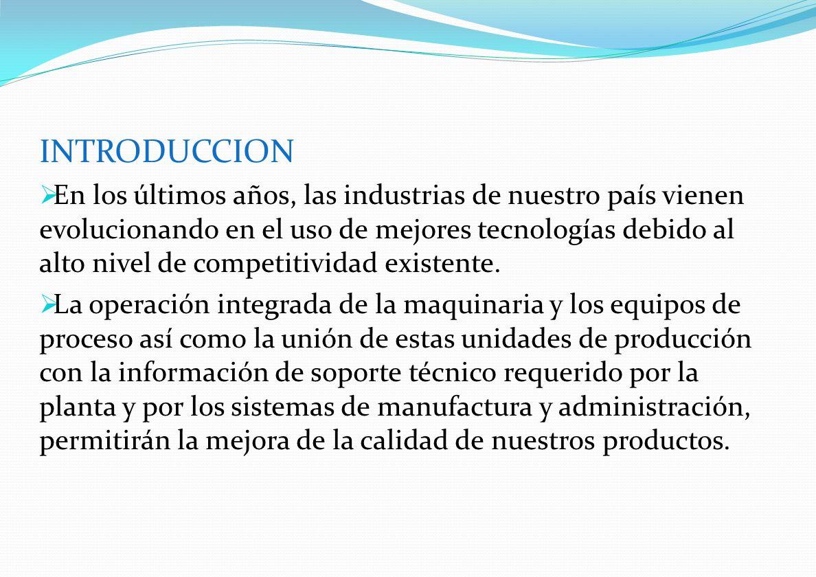 INTRODUCCION En los últimos años, las industrias de nuestro país vienen evolucionando en el uso de mejores tecnologías debido al alto nivel de competi