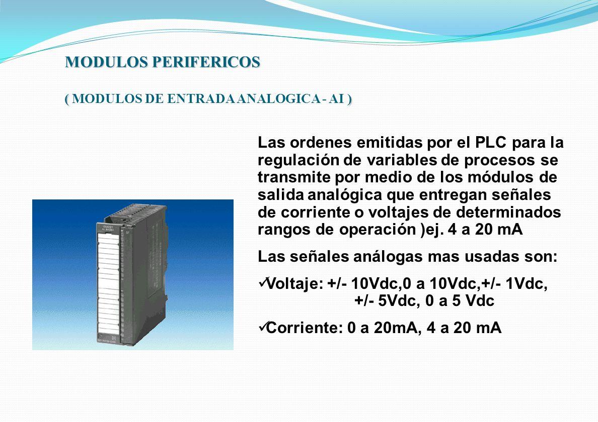 MODULOS PERIFERICOS ( ) MODULOS PERIFERICOS ( MODULOS DE ENTRADA ANALOGICA - AI ) Las ordenes emitidas por el PLC para la regulación de variables de p