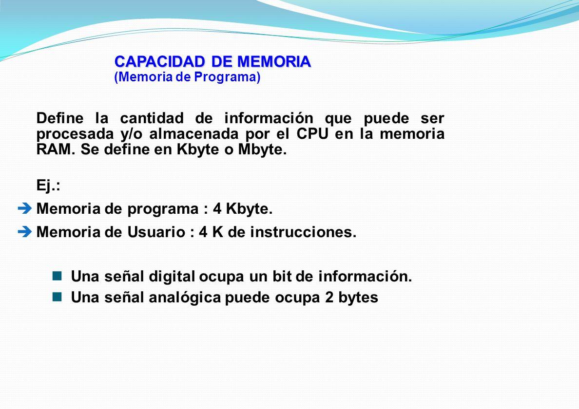 CAPACIDAD DE MEMORIA (Memoria de Programa) Define la cantidad de información que puede ser procesada y/o almacenada por el CPU en la memoria RAM. Se d