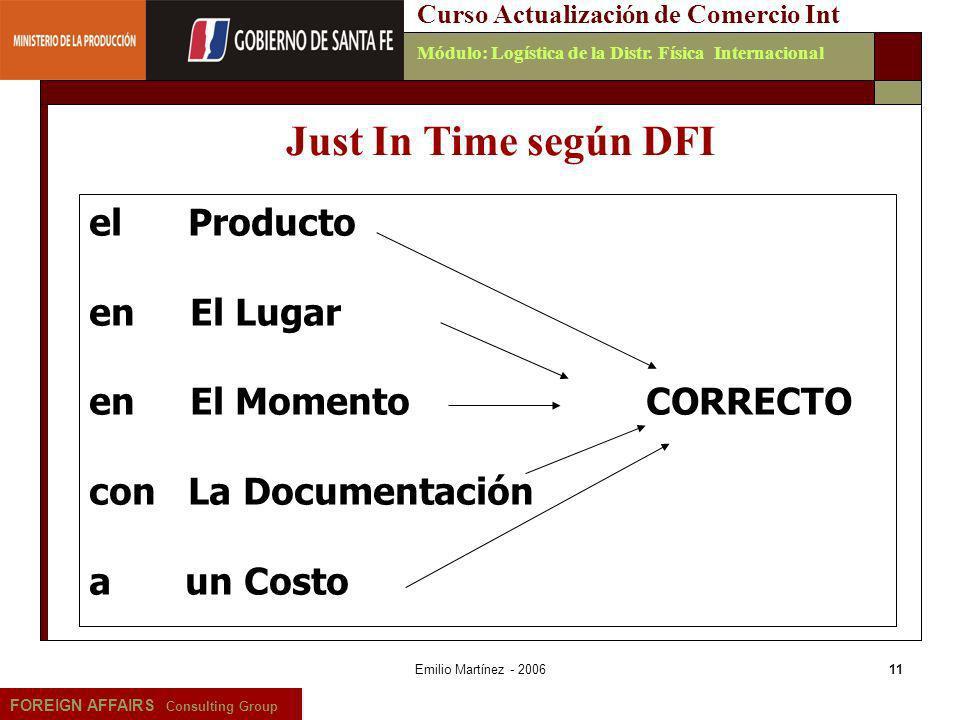 Emilio Martínez - 200611 FOREIGN AFFAIRS Consulting Group Curso Actualización de Comercio IntMódulo: Logística de la Distr. Física Internacional Just