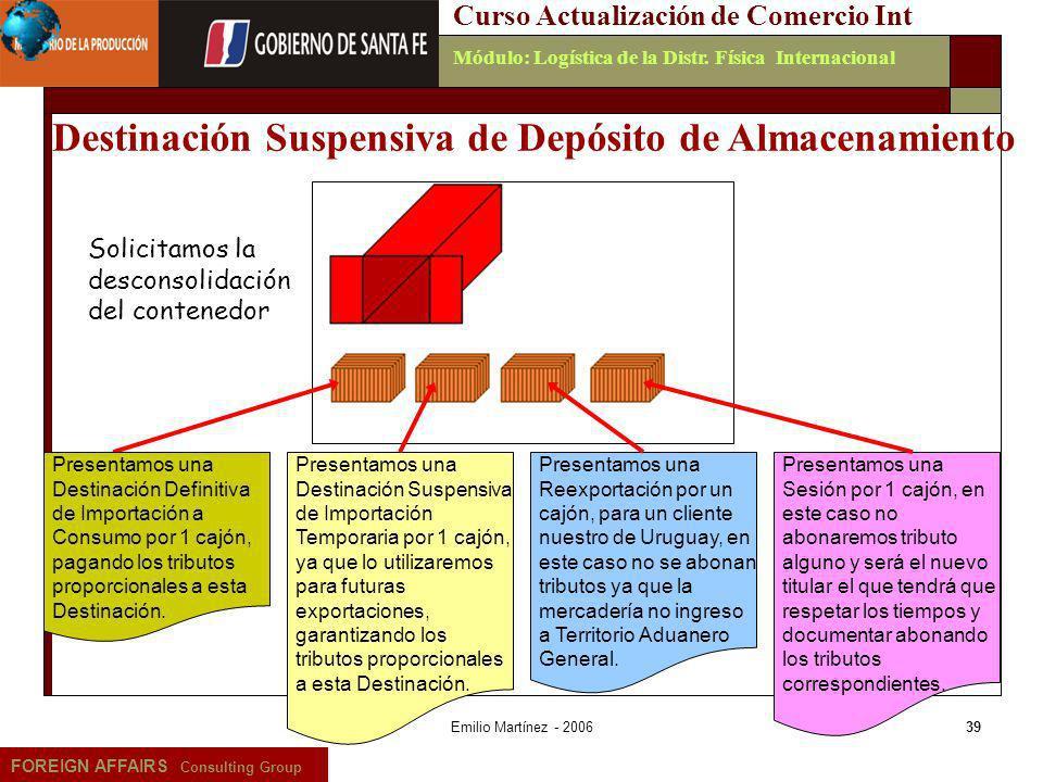 Emilio Martínez - 200639 FOREIGN AFFAIRS Consulting Group Curso Actualización de Comercio IntMódulo: Logística de la Distr. Física Internacional Prese