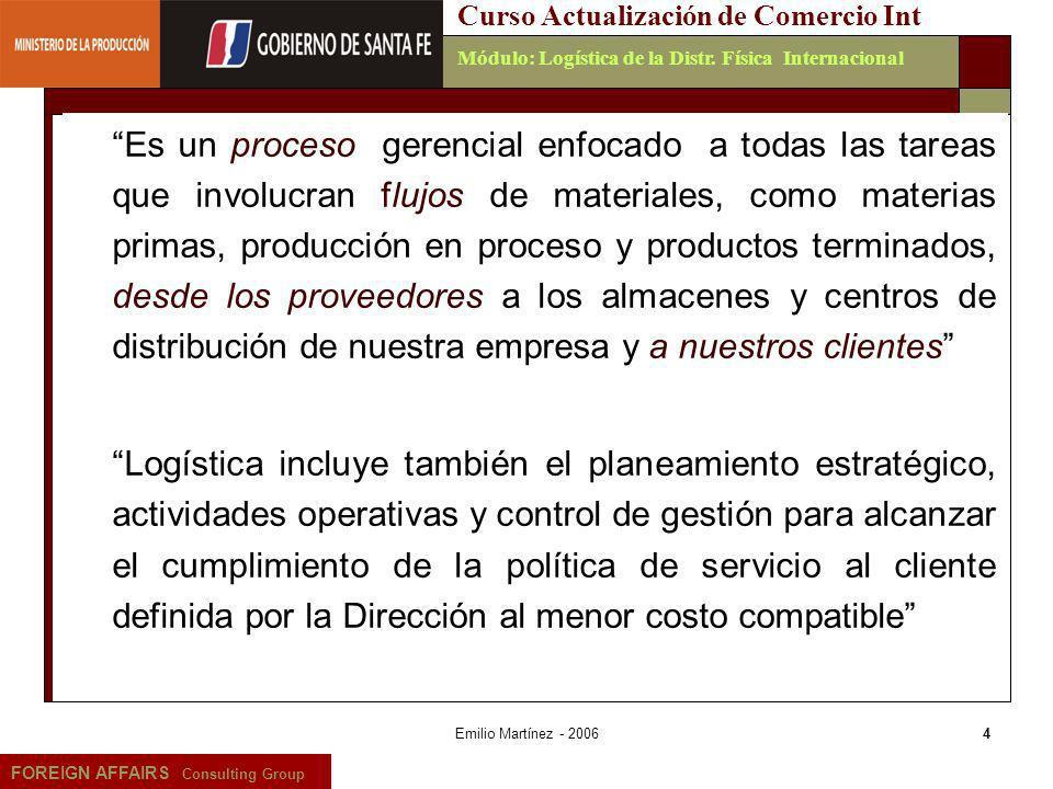 Emilio Martínez - 20065 FOREIGN AFFAIRS Consulting Group Curso Actualización de Comercio IntMódulo: Logística de la Distr.