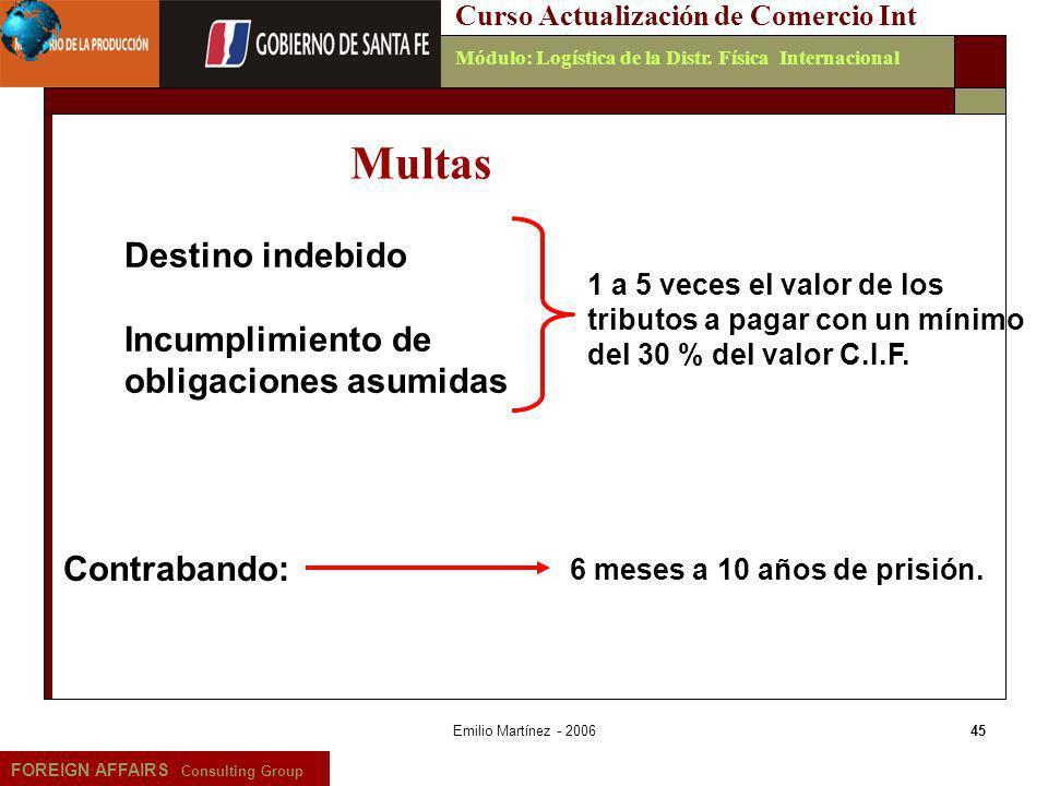 Emilio Martínez - 200645 FOREIGN AFFAIRS Consulting Group Curso Actualización de Comercio IntMódulo: Logística de la Distr. Física Internacional 6 mes