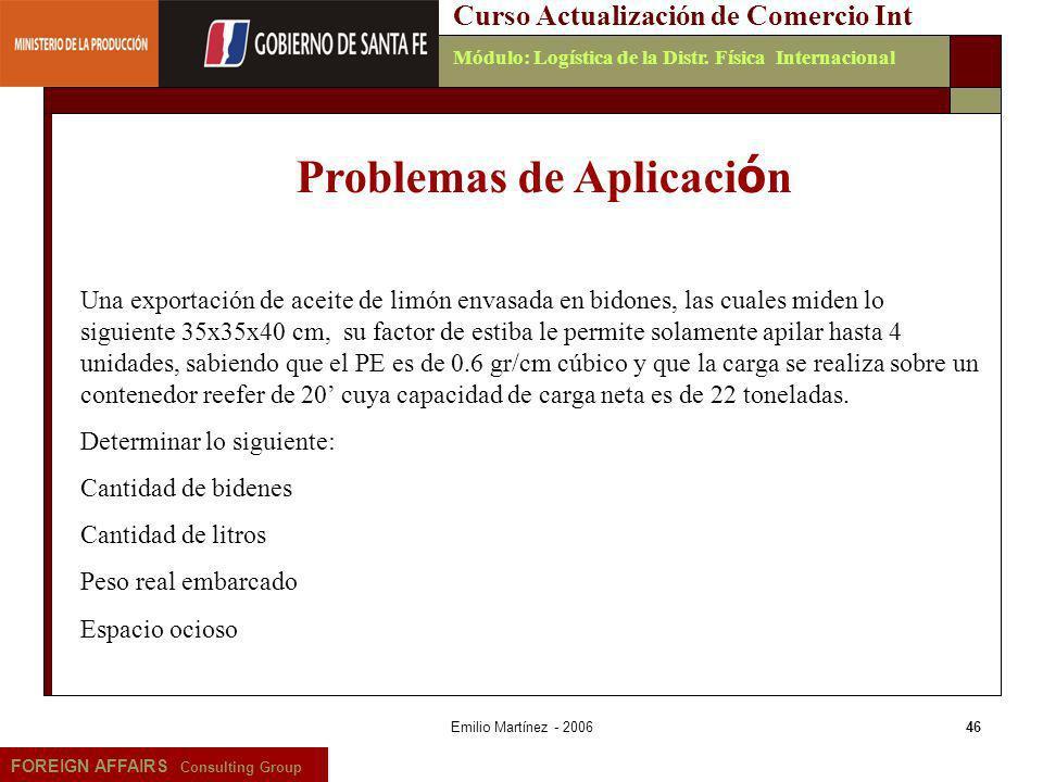 Emilio Martínez - 200646 FOREIGN AFFAIRS Consulting Group Curso Actualización de Comercio IntMódulo: Logística de la Distr. Física Internacional Probl