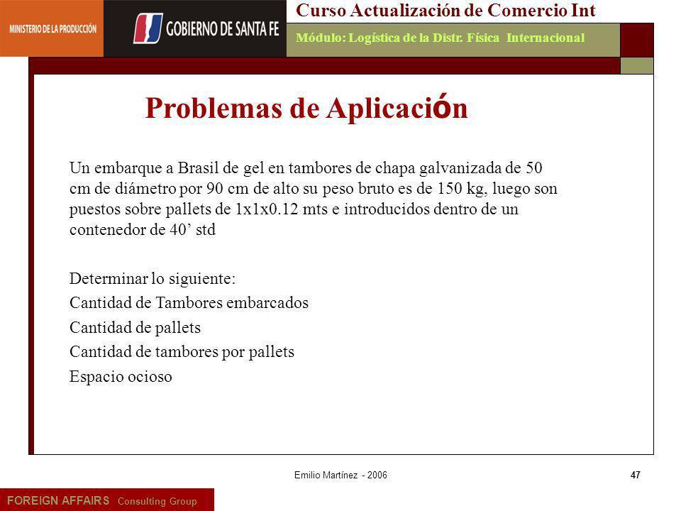 Emilio Martínez - 200647 FOREIGN AFFAIRS Consulting Group Curso Actualización de Comercio IntMódulo: Logística de la Distr. Física Internacional Un em
