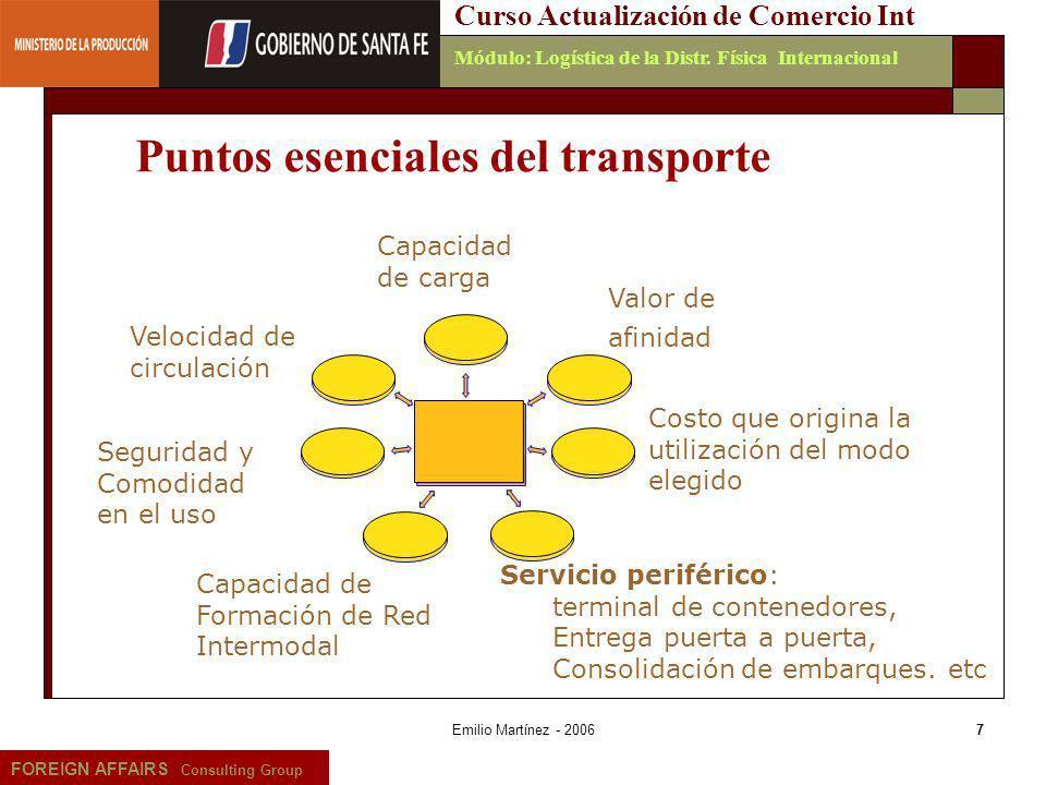 Emilio Martínez - 20067 FOREIGN AFFAIRS Consulting Group Curso Actualización de Comercio IntMódulo: Logística de la Distr. Física Internacional Puntos