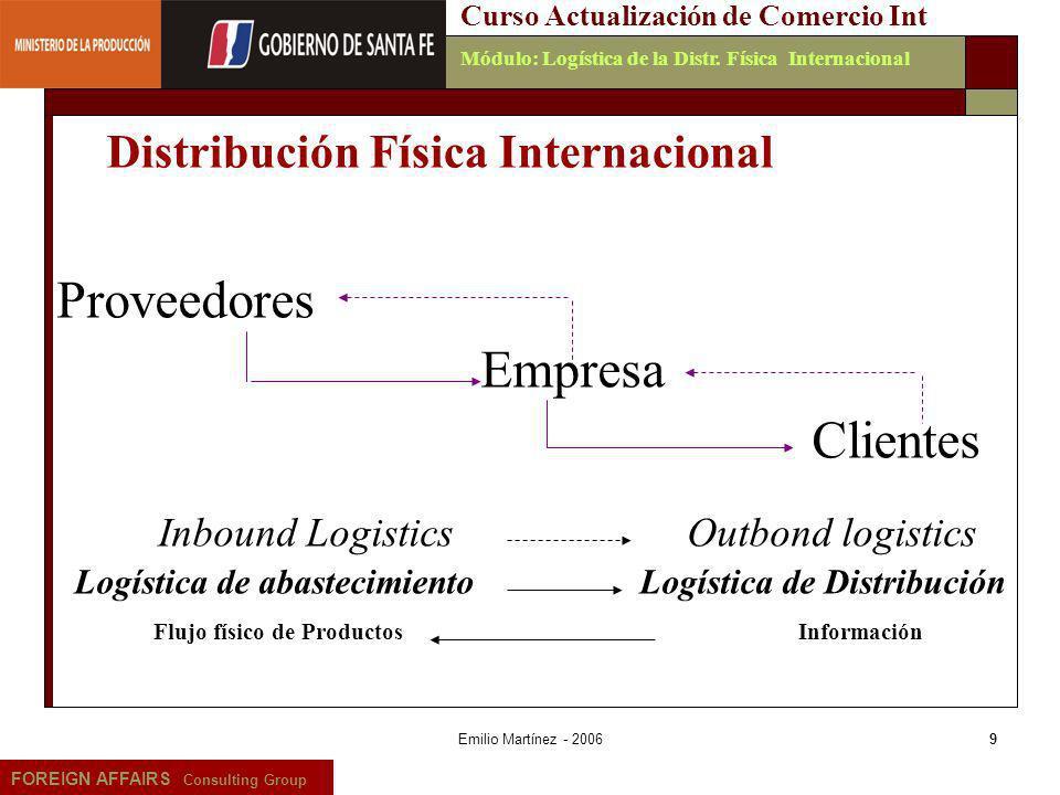 Emilio Martínez - 20069 FOREIGN AFFAIRS Consulting Group Curso Actualización de Comercio IntMódulo: Logística de la Distr. Física Internacional Provee