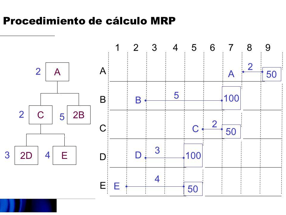 A C2B 2DE 2 2 5 43 ABCDEABCDE 50 A 2 100 B 5 50 C 2 100 D 3 50 E 4 1 2 3 4 5 6 7 8 9 Procedimiento de cálculo MRP