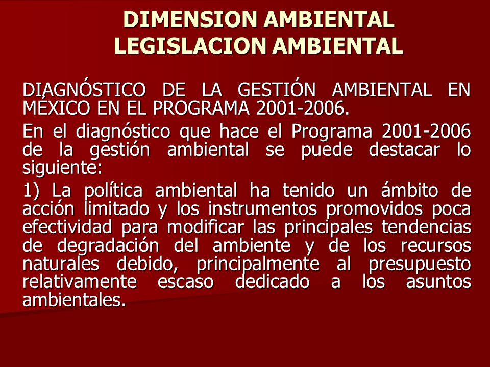 DIMENSION AMBIENTAL LEGISLACION AMBIENTAL DIAGNÓSTICO DE LA GESTIÓN AMBIENTAL EN MÉXICO EN EL PROGRAMA 2001-2006. En el diagnóstico que hace el Progra