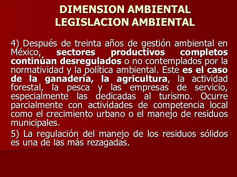 DIMENSION AMBIENTAL LEGISLACION AMBIENTAL 4) Después de treinta años de gestión ambiental en México, sectores productivos completos continúan desregul