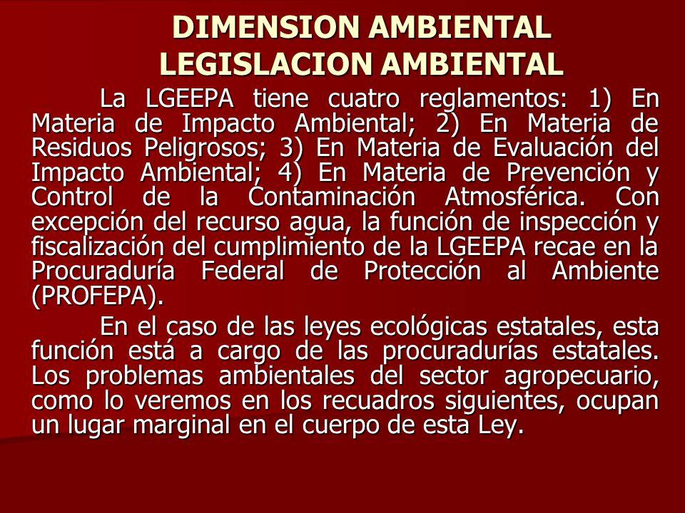 La LGEEPA tiene cuatro reglamentos: 1) En Materia de Impacto Ambiental; 2) En Materia de Residuos Peligrosos; 3) En Materia de Evaluación del Impacto