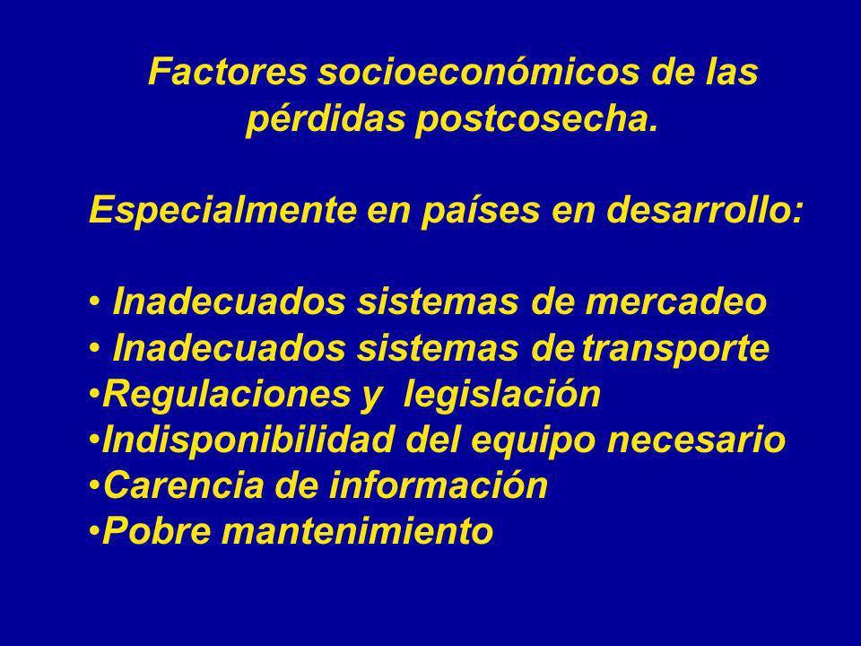 Factores socioeconómicos de las pérdidas postcosecha. Especialmente en países en desarrollo: Inadecuados sistemas de mercadeo Inadecuados sistemas de