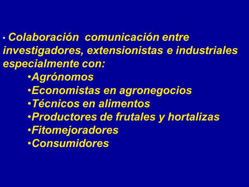 Colaboración comunicación entre investigadores, extensionistas e industriales especialmente con: Agrónomos Economistas en agronegocios Técnicos en ali