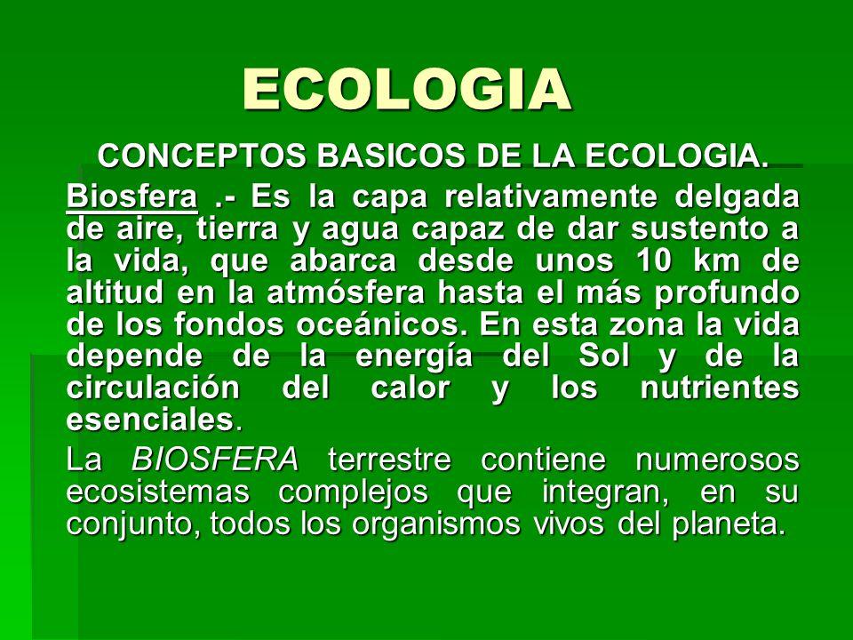 ECOLOGIA CONCEPTOS BASICOS DE LA ECOLOGIA. Biosfera.- Es la capa relativamente delgada de aire, tierra y agua capaz de dar sustento a la vida, que aba