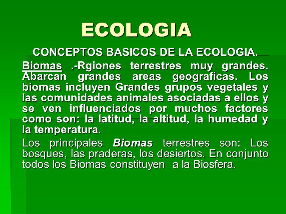 ECOLOGIA CONCEPTOS BASICOS DE LA ECOLOGIA. Biomas.-Rgiones terrestres muy grandes. Abarcan grandes areas geograficas. Los biomas incluyen Grandes grup