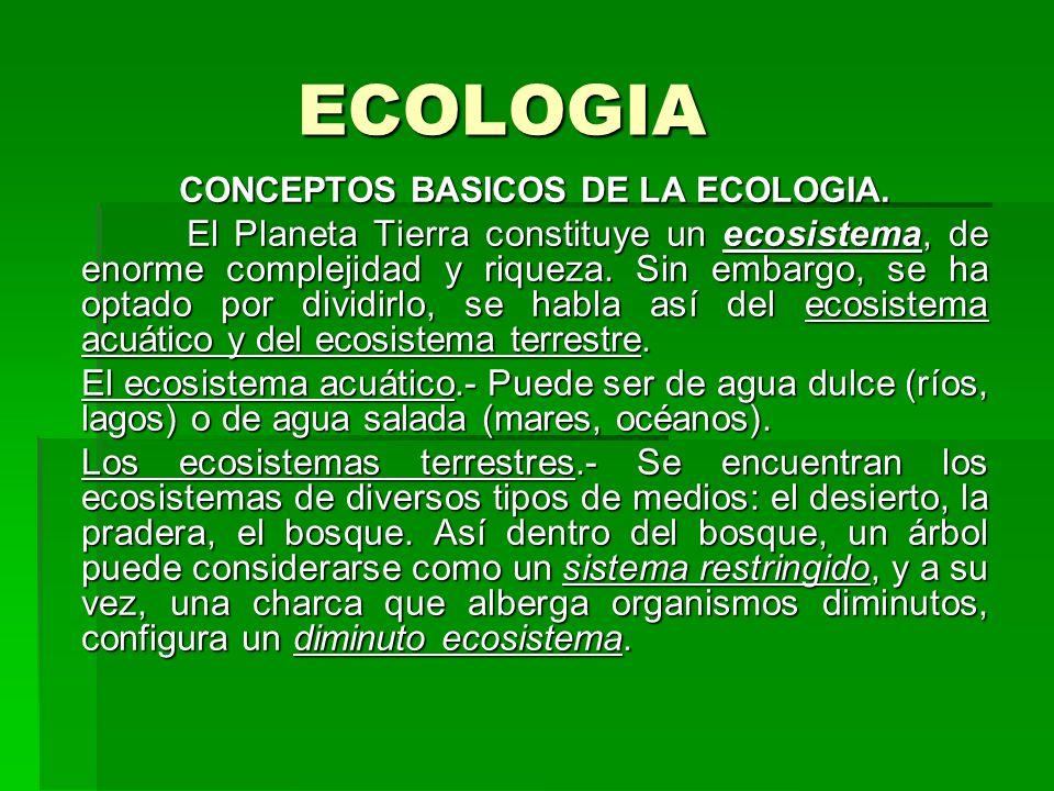 ECOLOGIA CONCEPTOS BASICOS DE LA ECOLOGIA. El Planeta Tierra constituye un ecosistema, de enorme complejidad y riqueza. Sin embargo, se ha optado por