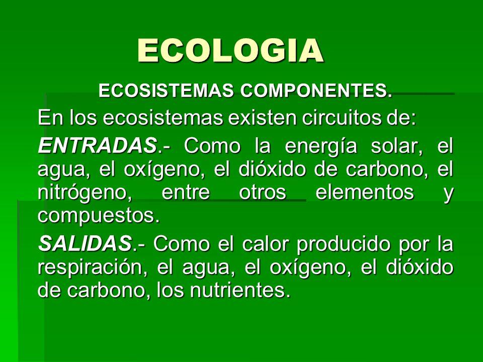 ECOLOGIA ECOSISTEMAS COMPONENTES. En los ecosistemas existen circuitos de: ENTRADAS.- Como la energía solar, el agua, el oxígeno, el dióxido de carbon