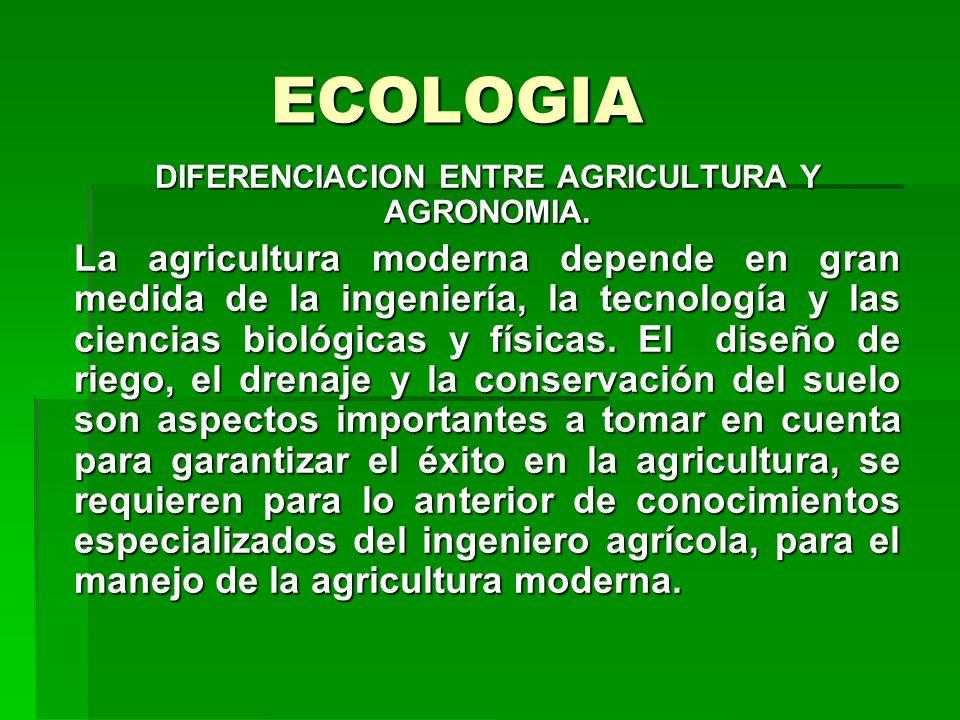ECOLOGIA DIFERENCIACION ENTRE AGRICULTURA Y AGRONOMIA. La agricultura moderna depende en gran medida de la ingeniería, la tecnología y las ciencias bi