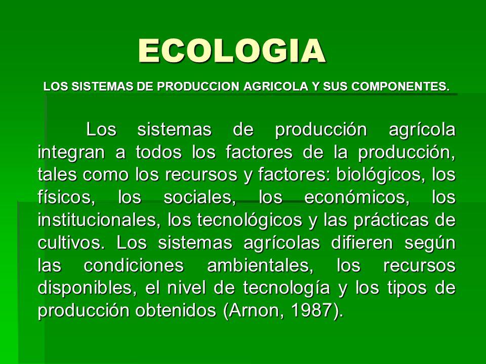 ECOLOGIA LOS SISTEMAS DE PRODUCCION AGRICOLA Y SUS COMPONENTES. Los sistemas de producción agrícola integran a todos los factores de la producción, ta