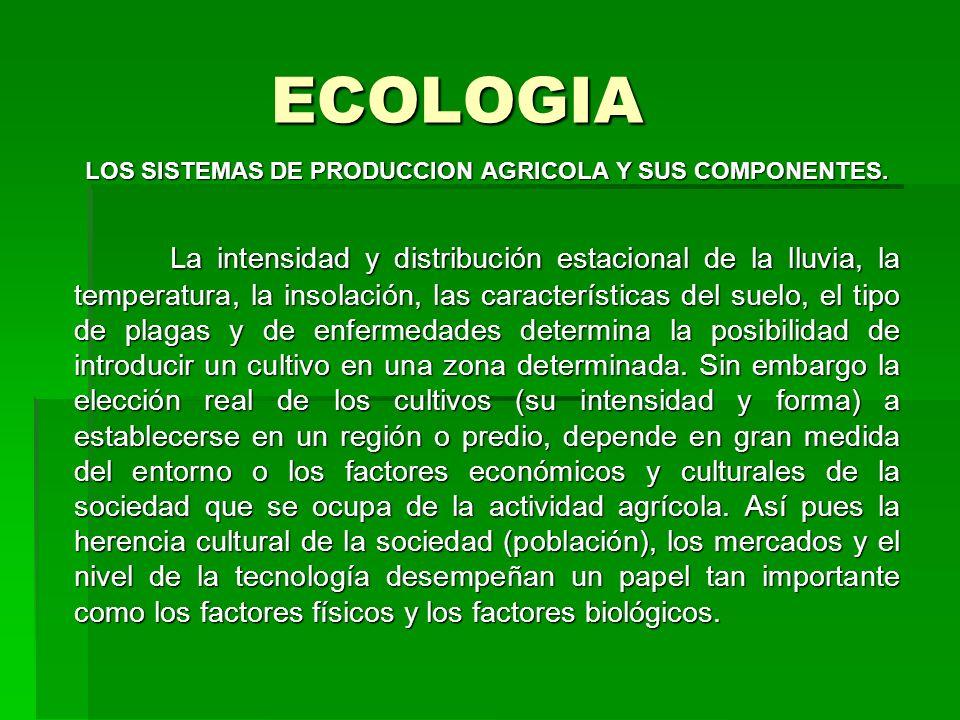 ECOLOGIA LOS SISTEMAS DE PRODUCCION AGRICOLA Y SUS COMPONENTES. La intensidad y distribución estacional de la lluvia, la temperatura, la insolación, l