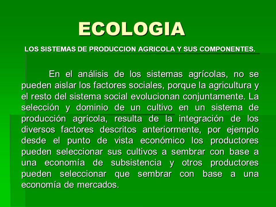 ECOLOGIA LOS SISTEMAS DE PRODUCCION AGRICOLA Y SUS COMPONENTES. En el análisis de los sistemas agrícolas, no se pueden aislar los factores sociales, p