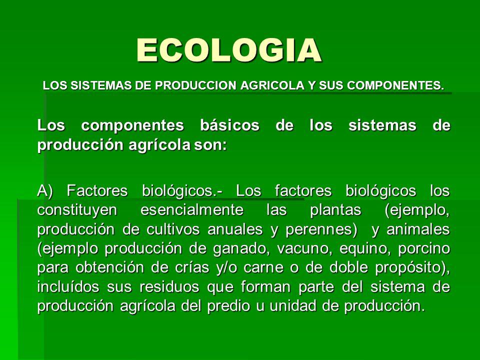 ECOLOGIA LOS SISTEMAS DE PRODUCCION AGRICOLA Y SUS COMPONENTES. Los componentes básicos de los sistemas de producción agrícola son: A) Factores biológ