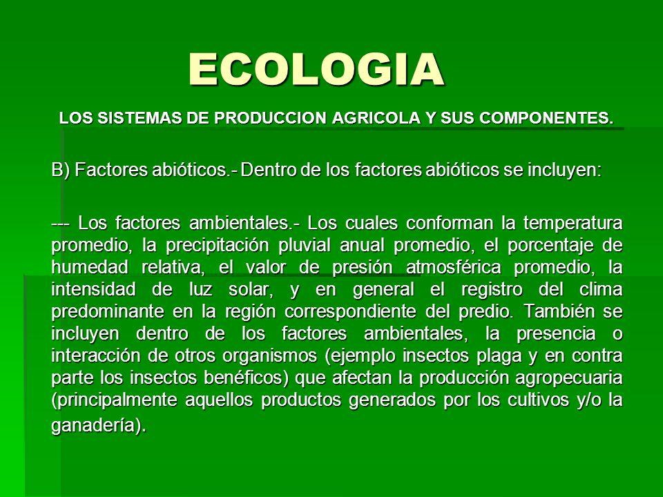 ECOLOGIA LOS SISTEMAS DE PRODUCCION AGRICOLA Y SUS COMPONENTES. B) Factores abióticos.- Dentro de los factores abióticos se incluyen: --- Los factores