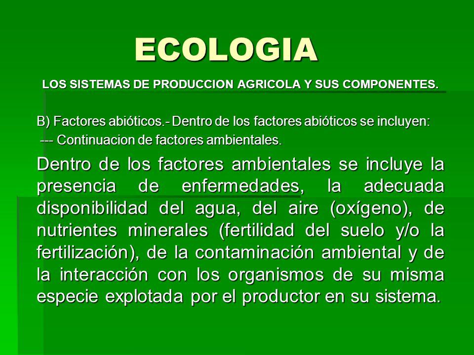 ECOLOGIA LOS SISTEMAS DE PRODUCCION AGRICOLA Y SUS COMPONENTES. B) Factores abióticos.- Dentro de los factores abióticos se incluyen: --- Continuacion