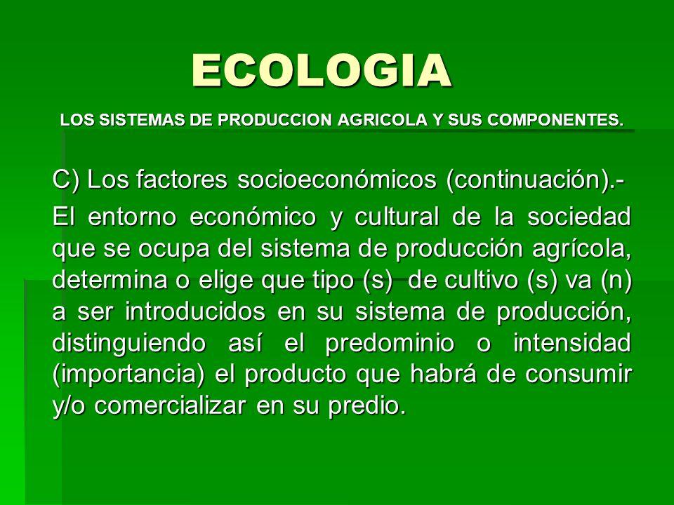 ECOLOGIA LOS SISTEMAS DE PRODUCCION AGRICOLA Y SUS COMPONENTES. C) Los factores socioeconómicos (continuación).- El entorno económico y cultural de la