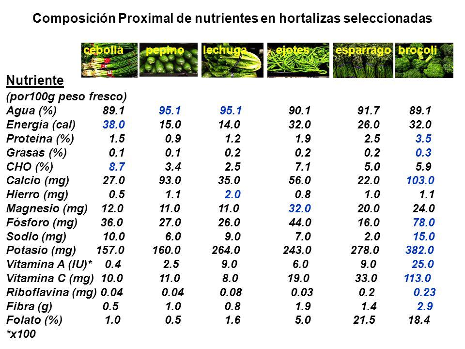 Nutriente (por100g peso fresco) Agua (%) 89.1 95.1 95.1 90.1 91.7 89.1 Energía (cal) 38.0 15.0 14.0 32.0 26.0 32.0 Proteína (%) 1.5 0.9 1.2 1.9 2.5 3.