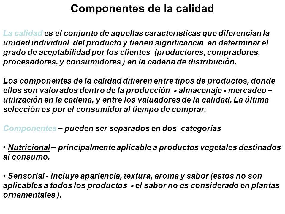 Componentes de la calidad La calidad es el conjunto de aquellas características que diferencian la unidad individual del producto y tienen significanc