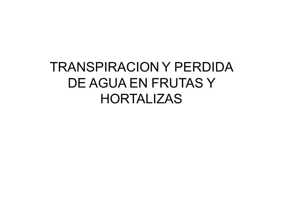 TRANSPIRACION Y PERDIDA DE AGUA EN FRUTAS Y HORTALIZAS