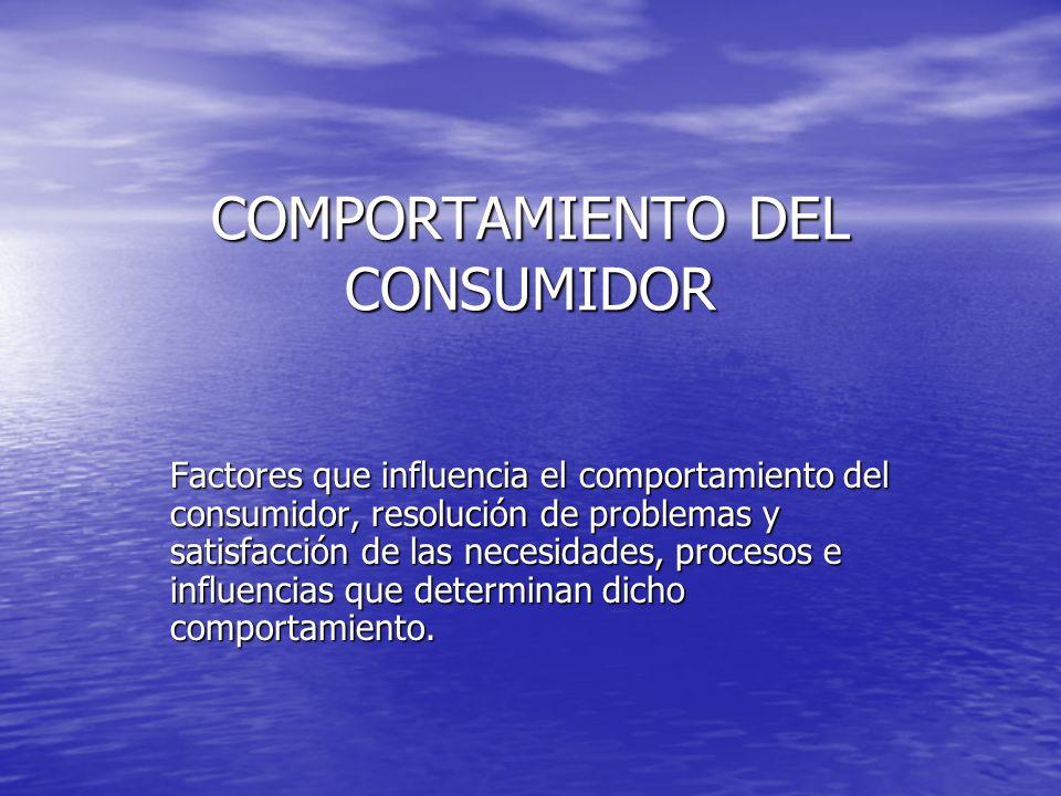 COMPORTAMIENTO DEL CONSUMIDOR Factores que influencia el comportamiento del consumidor, resolución de problemas y satisfacción de las necesidades, pro