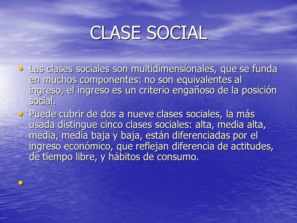CLASE SOCIAL Las clases sociales son multidimensionales, que se funda en muchos componentes: no son equivalentes al ingreso, el ingreso es un criterio