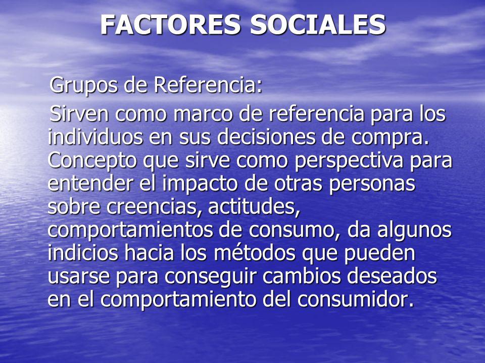 FACTORES SOCIALES Grupos de Referencia: Grupos de Referencia: Sirven como marco de referencia para los individuos en sus decisiones de compra. Concept