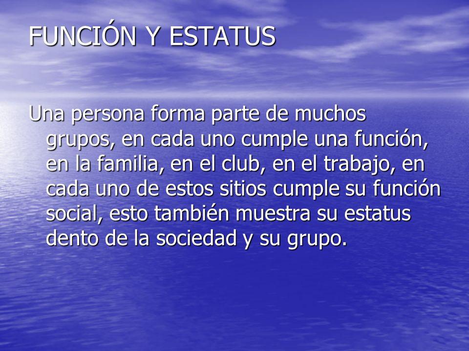 FUNCIÓN Y ESTATUS Una persona forma parte de muchos grupos, en cada uno cumple una función, en la familia, en el club, en el trabajo, en cada uno de e