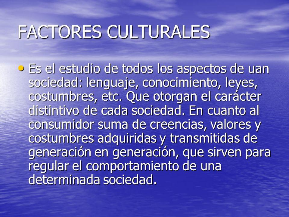 FACTORES CULTURALES Es el estudio de todos los aspectos de uan sociedad: lenguaje, conocimiento, leyes, costumbres, etc. Que otorgan el carácter disti