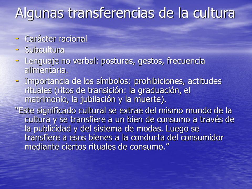 Algunas transferencias de la cultura - Carácter racional - Subcultura - Lenguaje no verbal: posturas, gestos, frecuencia alimentaria. - Importancia de