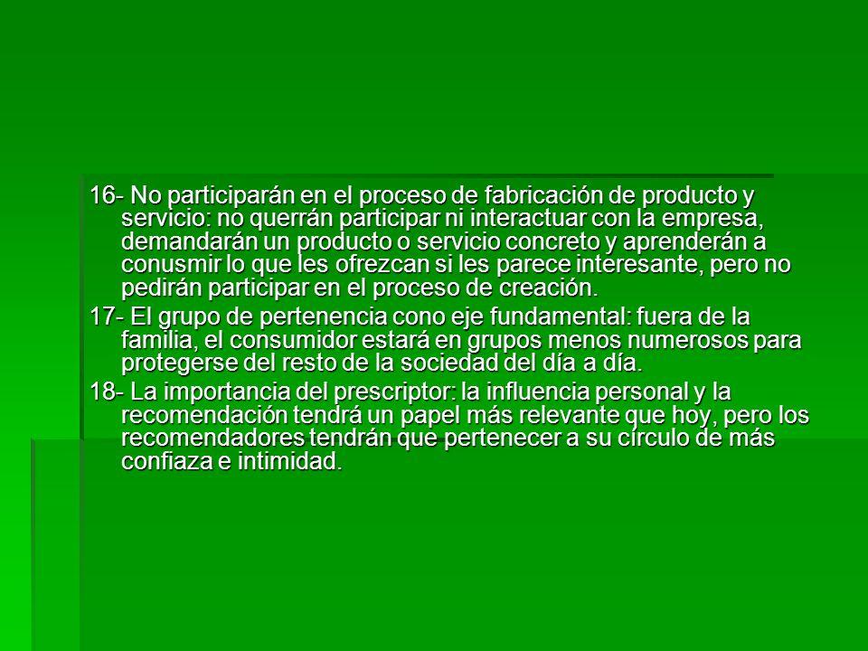 16- No participarán en el proceso de fabricación de producto y servicio: no querrán participar ni interactuar con la empresa, demandarán un producto o