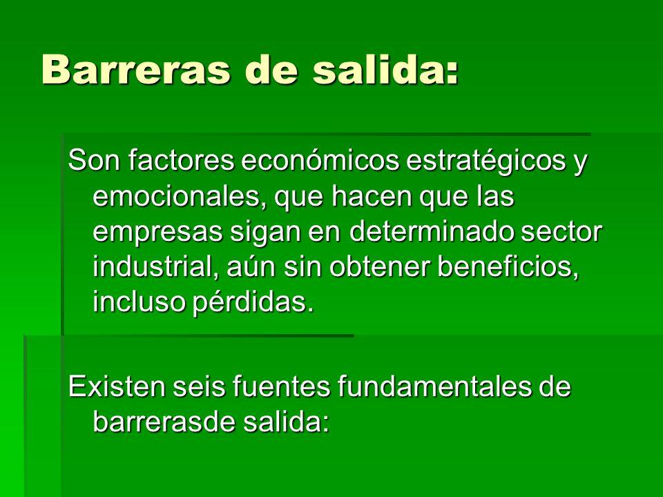 Barreras de salida: Son factores económicos estratégicos y emocionales, que hacen que las empresas sigan en determinado sector industrial, aún sin obt