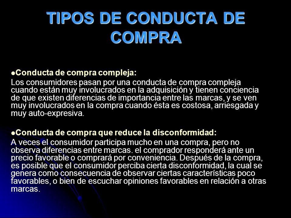 TIPOS DE CONDUCTA DE COMPRA Conducta de compra compleja: Los consumidores pasan por una conducta de compra compleja cuando están muy involucrados en l