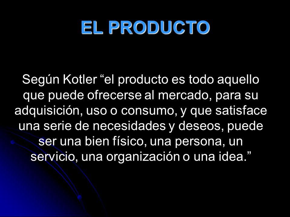 EL PRODUCTO Según Kotler el producto es todo aquello que puede ofrecerse al mercado, para su adquisición, uso o consumo, y que satisface una serie de