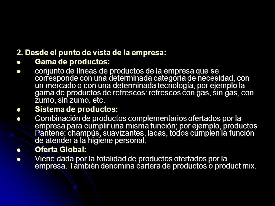 2. Desde el punto de vista de la empresa: Gama de productos: conjunto de líneas de productos de la empresa que se corresponde con una determinada cate