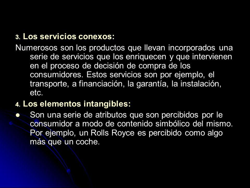 3. Los servicios conexos: Numerosos son los productos que llevan incorporados una serie de servicios que los enriquecen y que intervienen en el proces