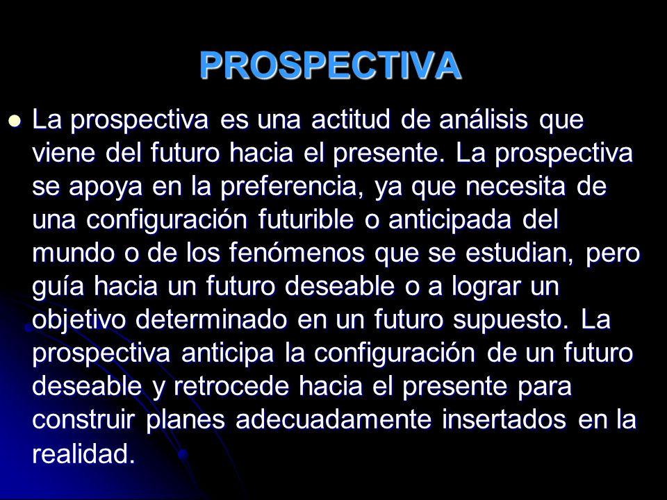 PROSPECTIVA La prospectiva es una actitud de análisis que viene del futuro hacia el presente. La prospectiva se apoya en la preferencia, ya que necesi